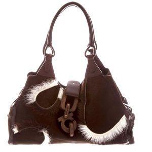 Ferragamo Suede & Calf Hair Chocolate Shoulder Bag